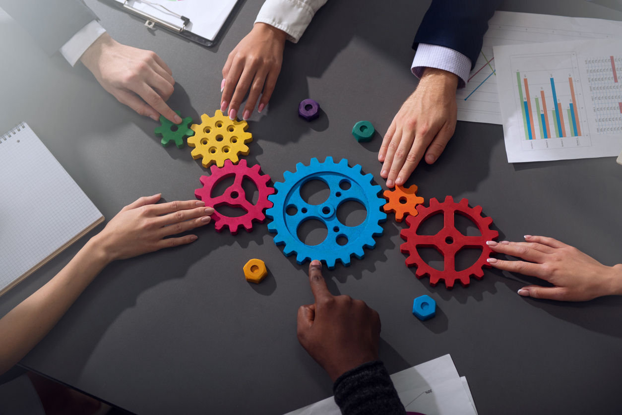 Colorful Gears with Hands